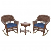 3pc Honey Rocker Wicker Chair Set With Cushion