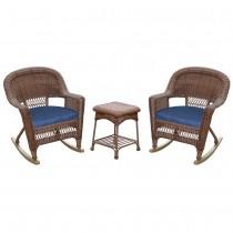 3pc Honey Rocker Wicker Chair Set With Midnight Blue Cushion