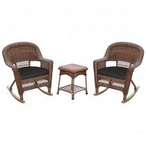 3pc Honey Rocker Wicker Chair Set With Black Cushion