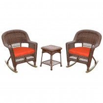 3pc Honey Rocker Wicker Chair Set With Brick Red Cushion