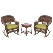 3pc Honey Rocker Wicker Chair Set With Sage Green Cushion