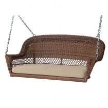 Honey Resin Wicker Porch Swing with Tan Cushion