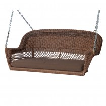 Honey Resin Wicker Porch Swing with Brown Cushion