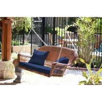 Honey Resin Wicker Porch Swing with Cushion