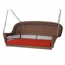 Honey Resin Wicker Porch Swing with Brick Red Cushion