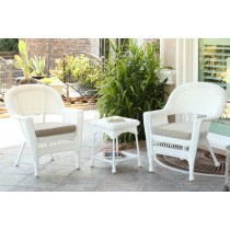 White Wicker Chair And End Table Set With Tan Chair Cushion