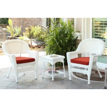 White Wicker Chair And End Table Set With Brick Red Chair Cushion
