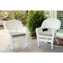 White Wicker Chair With Tan Cushion - Set of 2