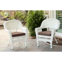 White Wicker Chair With Brown Cushion - Set of 2