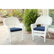 White Wicker Chair With Midnight Blue Cushion - Set of 2