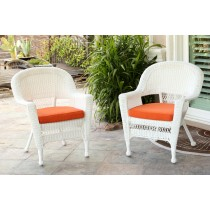 White Wicker Chair With Orange Cushion - Set of 2
