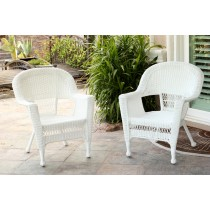 White Wicker Chair Without Cushion - Set of 2