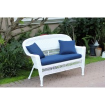 White Wicker Patio Love Seat With Cushion and Pillows