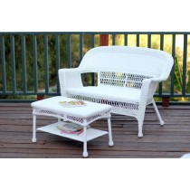 White Wicker Patio Love Seat And Coffee Table Set Without Cushion