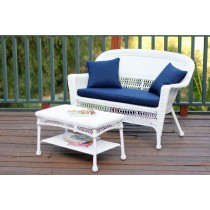 White Wicker Patio Love Seat And Coffee Table Set With Cushion
