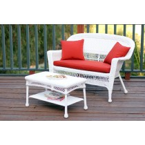 White Wicker Patio Love Seat And Coffee Table Set With Brick Red Cushion