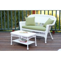 White Wicker Patio Love Seat And Coffee Table Set With Sage Green Cushion