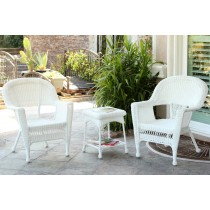 White Wicker Chair And End Table Set Without Cushion