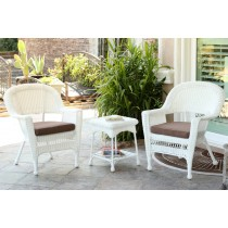 White Wicker Chair And End Table Set With Brown Chair Cushion