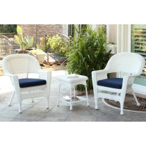 White Wicker Chair And End Table Set With Midnight Blue Chair Cushion