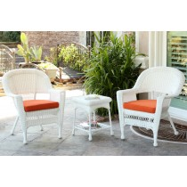 White Wicker Chair And End Table Set With Orange Chair Cushion