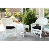 White Wicker Chair And End Table Set With Black Chair Cushion