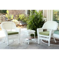 White Wicker Chair And End Table Set With Sage Green Chair Cushion