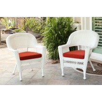 White Wicker Chair With Brick Red Cushion - Set of 4