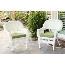 White Wicker Chair With Sage Green Cushion - Set of 4