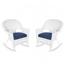 White Rocker Wicker Chair with Cushion-  Set of 2