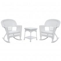 3pc White Rocker Wicker Chair Set Without Cushion