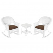3pc White Rocker Wicker Chair Set With Brown Cushion