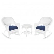 3pc White Rocker Wicker Chair Set With Midnight Blue Cushion
