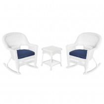3pc White Rocker Wicker Chair Set With Cushion