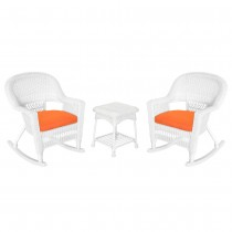 3pc White Rocker Wicker Chair Set With Orange Cushion