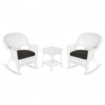 3pc White Rocker Wicker Chair Set With Black Cushion