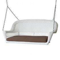 White Resin Wicker Porch Swing with Brown Cushion