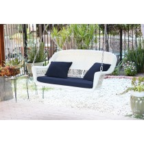 White Resin Wicker Porch Swing with Cushion