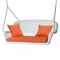 White Resin Wicker Porch Swing with Orange Cushion