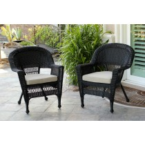 Black Wicker Chair With Tan  Cushion - Set of 4
