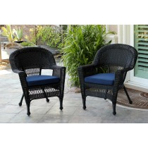 Black Wicker Chair With Cushion - Set of 2