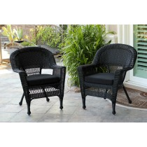 Black Wicker Chair With Black Cushion - Set of 2