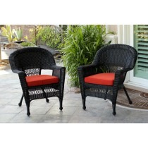 Black Wicker Chair With Brick Red Cushion - Set of 2