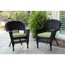 Black Wicker Chair With Sage Green Cushion - Set of 2