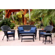 5pc Black Wicker Conversation Set With Cushion