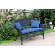 Black Wicker Patio Love Seat With Cushion and Pillows