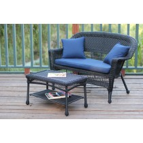 Black Wicker Patio Love Seat And Coffee Table Set With Cushion