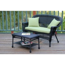 Black Wicker Patio Love Seat And Coffee Table Set With Sage Green Cushion