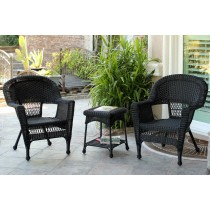 Black Wicker Chair And End Table Set Without Cushion