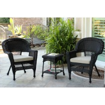 Black Wicker Chair And End Table Set With Tan Cushion